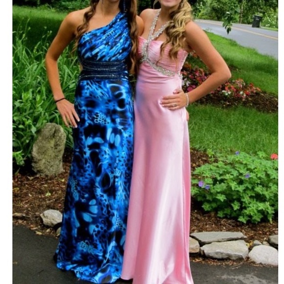 betsy adams Dresses | Blue Patterned One Shoulder Prom Dress | Poshmark
